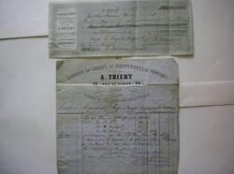 PARIS FACTURE ET TRAITE A.THIERY 70 RUE DE BONDY FABRIQUE DE CASQUES ET EQUIPEMENTS DE POMPIERS DU 3 AVRIL 1867 - Pompiers
