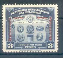 REPUBLICA DEL PARAGUAY - PAZ DEL CHACO ESCUDOS AÑO 1939 SOBRECARGA ROJA SURCHARGE ROUGE TBE MNH - Paraguay