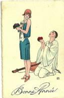 Bonne Année. Pierrot Offre Son Coeur à Sa Colombine Année 1940 ?, Signe LG ? - Illustrateurs & Photographes