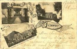 Gruss Aus Friesen - Ed. Müller (Inneres Der Kirche, Kirche, Gasthaus Zur Krone) Tampon 53° Régiment Terr. - Ferrette