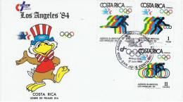 JO 173 - COSTA RICA N° 388 à 393 Sur 2 FDC Jeux Olympiques De Los Angeles 1984 - Ete 1984: Los Angeles