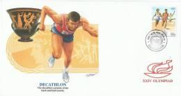 JO 177 - BARBADES / BARBADOS FDC DECATHLON - Jeux Olympiques 1988 Séoul - Barbados (1966-...)