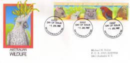 Faune Australienne (Cacatoès,Wombat,perroquet Rosella,Echidne,Possum)  Annee 1987 - FDC