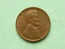 1951 - One Cent / KM A132 ( Uncleaned - For Grade, Please See Photo ) ! - 1909-1958: Lincoln, Wheat Ears Reverse