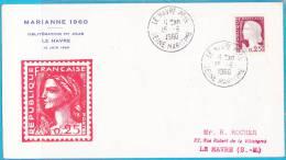 O.25 Marianne Decaris Obl; 1er Jour LE HAVRE 15 Juin 1960 - SUPERBE / Env. Illustrée - EH6 - - 1960-1969