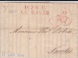 1828 - LETTRE De RIGA (LETTONIE) Du 31/07  MARQUE LINEAIRE De PORT PAYE LE HAVRE (SEINE INFERIEURE) Le 17/08 Pour NANTES - 1801-1848: Précurseurs XIX