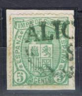 Sello 5 Cts Impuesto De Guerra 1875, Marca Pre Filatelica SAX (Alicante), Num 154 º - Impuestos De Guerra
