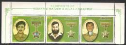 PAKISTAN 2013 Recipients Of Nishan-e-Haider & Hilal-i-Kashmir, Se-Tenant Strip Of 3v, MNH - Militaria