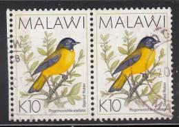 Malawi Used Scott #533A Horizontal Pair 10k Spotted Robin - Birds - Malawi (1964-...)
