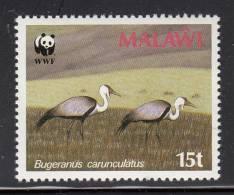 Malawi MNH Scott #495 15t Cranes In Field (Bugeranus Carunculatus) - World Wildlife Fund - Malawi (1964-...)