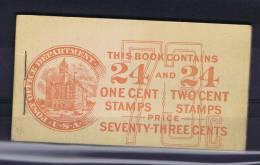 USA: Booklet  BK56 Combi  Sc  498AE + 499E  1917  , MNH,  Small Spot At Back Side - Boekjes