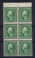 USA: Booklet  Pane 1912  405 B , Top 2 Stamps MH/*, Rest = MNH/** - Boekjes