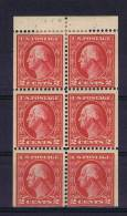 USA: Booklet  Pane 1912  406 A , Top 2 Stamps MH/*, Rest = MNH/** - Boekjes