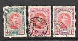 COB 132 - 134 Oblitérés Albert Ier Croix-Rouge - 1914-1915 Rotes Kreuz