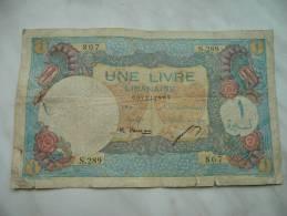 Très Rare Billet Lebanon Une Livre 1950 - Líbano