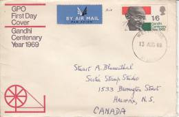 Great Britain FDC Scott #600 1sh6p Gandhi Airmail To Canada, Weybridge Cancel - 1952-1971 Em. Prédécimales