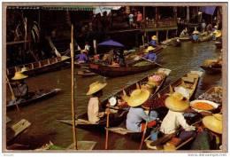 THAILANDE - CPM - DAMNERNSADUAK , RAJBURI - 1054 - Marché Sur L´eau - Floating Market - éditeur THAI SILPA - Thaïlande