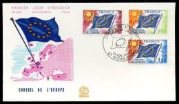 27512) Frankreich Europarat - Michel 16 / 18 - FDC - 1975 Europafahne - Brieven & Documenten