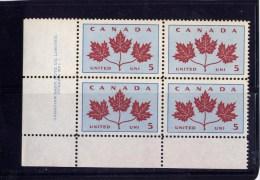CANADA, 1964,MNH  #417. MAPLE LEAFS BLOCK LL MNH - Blocs-feuillets