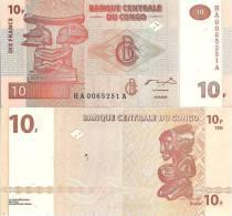 Congo P93b, 10 Francs, Chief Luba Headress / Carved Figure, Okapi W/m, 2006 - Congo