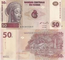 Congo P 91A, 50 Francs, Tshokwe Mask / Village By Congo River $10 CV!! - Congo
