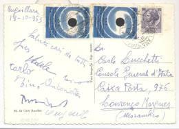 4059-CARTOLINA DI ANGUILLARA SABAZIA AFFRANCATA 2x30L. XXX° ANN. MOSTRA DEL CINEMA + 15L. SIRACUSANA PER IL MOZAMBICO - 1961-70: Storia Postale