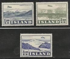 ISLANDIA 1952 - Yvert #A27/29 - MLH * - Aéreo