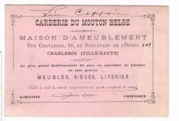 """""""Carderie Du Mouton Belge - Maison D'ameublement - Rue Chavannes 56 Et Boulevard De L'Ouest Charleroi"""" - Publicités"""