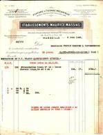 FACTURE Des Ets Maurice MASSIAS - Filature & Tissage Mécanique - à MARSEILLE (13)  69, Rue Félix Pyat - France