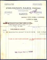 FACTURE Des Ets Maurice MASSIAS - Filature & Tissage Mécanique - à MARSEILLE (13)  65 à 71, Rue Félix Pyat - France