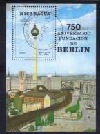 BIG9 - NICARAGUA 1987 , BF N. 187 Usato : Anniversario Fondazione Di Berlino - Nicaragua