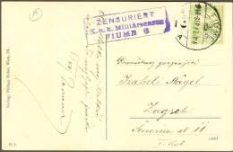 Phila Fiume Censure K.u.K. Militaer Zensuriert 1917. War Ship In Harbour Die Pferde - Croazia