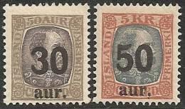 ISLANDIA 1925 - Yvert #113/14 - MLH * - 1918-1944 Administración Autónoma