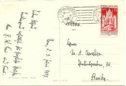 LANV6 - VATICAN EXPO. PRESSE CATHOLIQUE 75c SEUL SUR CPA POUR BÂLE 5/6/1937 - Lettres & Documents