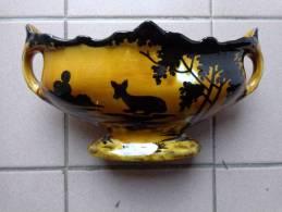 Garniture De Cheminee Faience Jaune Decor Biche 26 X14 Cm De Haut - Ceramics & Pottery