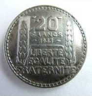 FRANCE PIECE MONNAIE - 20 FRANCS ARGENT - TURIN 1933 - Francia