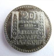 FRANCE PIECE MONNAIE -20 FRANCS ARGENT - TURIN 1938 - France