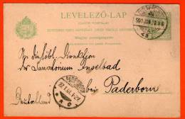 UNGARN HUNGARY Zsolna-Pozsony - Germany 5 Filler 1901 - Post Card Postkarte Carta Postal Ganzsache - Stationery - Entero - Enteros Postales