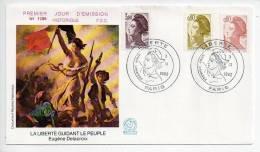 Ref XS : Enveloppe FDC First Day Cover : Premier Jour : La Liberté Guidant Le Peuple Delacroix - FDC
