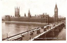 London -Houses Of Parlament & Westminster Bridge- +/-1935- Attelage -Bus à Impérial- Vintage Cars- Publicité Lipton Tea - Houses Of Parliament