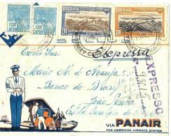 LBON7 - BRESIL LETTRE AVION EXPRES PUB PANAIR FORTALEZA CEARA / JOAO PESSOA 10/8/1937 - Brésil