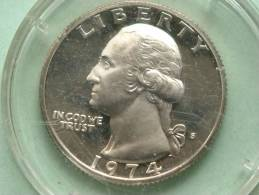 1974 S - 1/4 QUARTER $ / KM 164a ( Proof Coin ) Dirty Capsule / For Grade, Please See Photo ! - Emissioni Federali