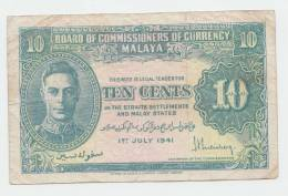 Malaya 10 Cents 1941 VF+ Banknote KGVI P 8 - Malaysia