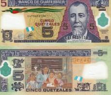 Guatemala P122, 5 Quetzal, Quetzal Bird, General Barrios / Classroom POLYMER - Guatemala