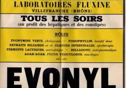 Publicité , 30 X 46 Cms , Laboratoires FLUXINE , Rhône , EVONYL  , 2 SCANS ,  Frais : 1.60€ - Advertising
