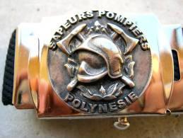 CEINTURE DES SAPEURS POMPIERS / POMPIERS DE POLYNESIE BOUCLE ET TOILE EN ETAT EXCELLENT