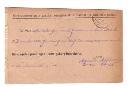 Première Guerre Mondiale 1916 Prisonnier De Guerre Réception Mandat Et Colis Postal Ludwigsburg Eglosheim - Guerre Mondiale (Première)