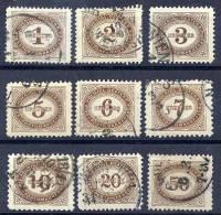 AUSTRIA 1894 Postage Due Set Used.  Michel 1-9 - Postage Due