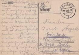 Feldpost WW2: Jäger ERsatz Abteilung 56 Dtd Ulm (Donau) 11.9.1942 - Readressed Plain Postcard (G7-6) - Militaria