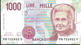 "Banconota Lire Mille ""Montessori I  1990"" Ciampi-Speziali Serie  PB 732452 Y - [ 2] 1946-… : République"